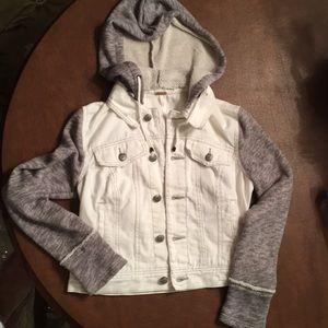 Free people EUC jean jacket w/detachable hood xs
